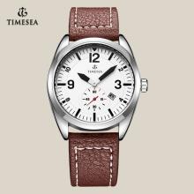 Mais novo relógio de quartzo de moda com pulseira de couro genuíno 72098