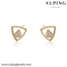 94563 xuping nova moda triângulo forma brinco de diamante do parafuso prisioneiro na China por atacado