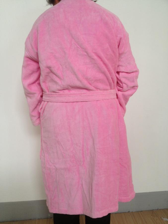 100%cotton kimono collar velour robe