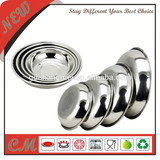 Round kitchen stainless steel plate for dinner