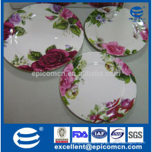 England decal red roses with gold line fine bone china plates stock