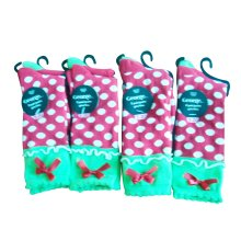 Girl Colorful Crew Socks with Lace and Bow