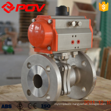 Stainless steel 2 way flanged pneumatic air actuated ball valve