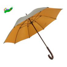 Straight orange and gray wood stick umbrellas, new design double layer 46arc wood umbrella