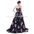 Trägerlos Backless Black Silk Printed Blumen Satin Ballkleid Zug Sexy Brautkleid