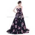 Robe de mariée sans bretelles dos nu en soie noire imprimée fleur satin robe de bal
