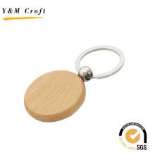 Porte-clés rond en bois de cadeau de promotion
