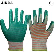 U209 Зебра-полоса Зеленые нитриловые покрытые перчатки PPE