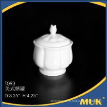 Nova chegada durável branco personalizado cerâmica porcelana açúcar pote