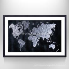 Растянутая китайская карта Печать Главная страница Декор Карта искусства Холст готов к зависанию на стене