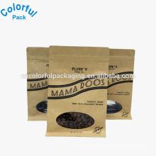Custom kraft paper bags with window coffee bag flat bottom