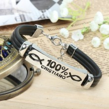 Fashion Metal alloy Christian fish bracelet with black leather cords