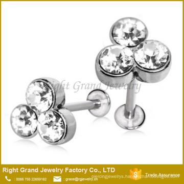 Triple Gemmed Labret Stainless Steel Rhinestone Ear Tragus Cartilage Jewelry