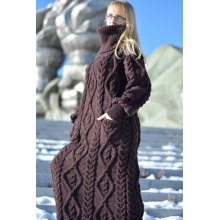 Cable Hand Knitted Long Wool Sweater Dress