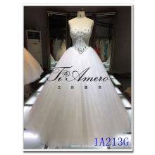 Chine vente en gros perlé robe de bal polyester Mordern Corset taille robe de mariée 2016 mariée