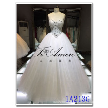 China wholesale beaded ball gown polyester Mordern Corset Waist Wedding Dress 2016 bride