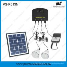 Mini sistema solar home com o carregador móvel com 2 bulbos, carregador do telefone móvel
