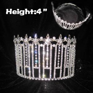 Coronas de reina de desfile de diamantes claros al por mayor de 4 pulgadas