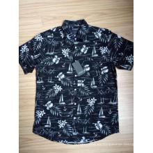 Camisa de manga corta con estampado hawaiano de popelina de algodón para hombre