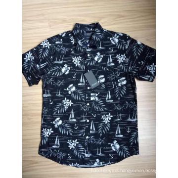 Mens cotton poplin hawaii print short sleeves shirt