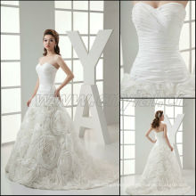 JJ3007 Newest Real sample Hand made flower Ball gown Wedding dress