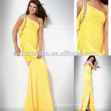 Floor Length One Embellished Shoulder Chiffon Evening Dress
