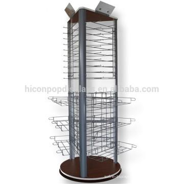 Concise Wood Base Metall Wire Rod Wire Cap Korb Rotierende Kunst Bodenbelag Dreieck Eyewear Display Stand