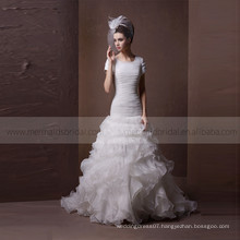 Graceful Square Neck Fish Style DelicateRuffle ORG Wedding Dress With Chapel Train
