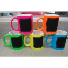 Nueva taza de la tiza, taza caliente de la tiza, taza neón del color con la etiqueta de la tiza
