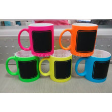 New Chalk Mug, Hot Chalk Mug, Neon Color Mug with Chalk Decal