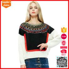 El último diseño de manga larga jacquard tejido punto suéter para las mujeres