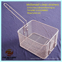 Lebensmittelklasse Draht gewebte Küche Skimmers McDonalds frische Pommes Frites Körbe Edelstahl Metall Typ Chips Sieb