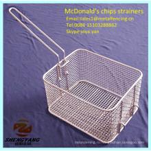 Еда класс проволоки вплетаются свежие кухонной шумовки Макдоналдс картофель фри корзины из нержавеющей стали металлическая стружка Тип стрейнеры