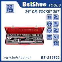 22 PCS 3 / 8''dr. Conjunto de soquete de chave de fenda de carraca de vanádio cromado