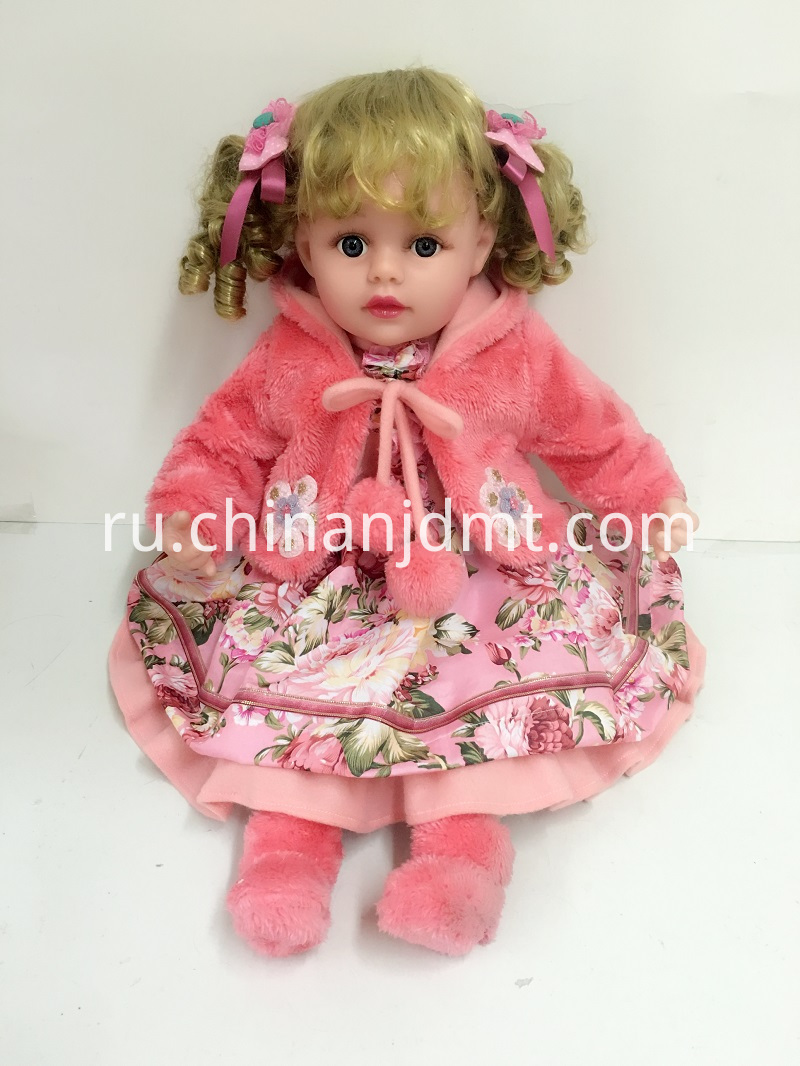 pink plush coat vinyl doll
