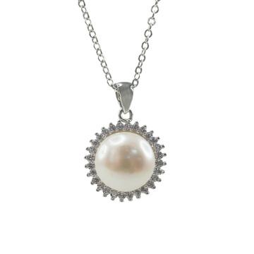 Pendentif perle d'eau douce en argent 925 avec cz