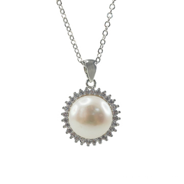 925 Silver Freshwater Pearl Anhänger mit CZ