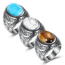 Wholesale Retro Jewelry Stone Rings Men Inlaid Turquoise Onyx Ring Men Domineering Titanium Steel Ring