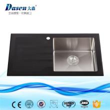 Chine célèbre bande fossil fournisseur verre noir panneau pliant profond bol grande capacité évier de cuisine