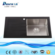 China Famous Band Fossil Supplier Black Glass Panel Folding Deep Bowl Large Capacity Kitchen Sink