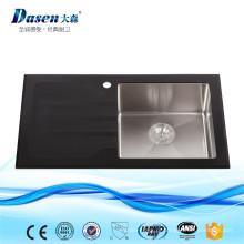 China Famosa Banda Fossil Fornecedor Painel De Vidro Preto Dobrável Tigela Profunda Pia Da Cozinha Grande Capacidade