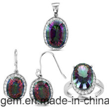 Ensemble de bijoux avec des pierres de couleur (S1224)
