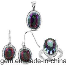 Conjunto de joias com pedras de cor (S1224)