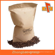 High quality china supplier kraft paper side gusset coffee packaging bags with printing customize