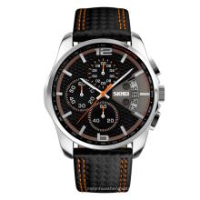 SKMEI Fashion Leather band Stopwatch Men Causal Waterproof Quartz Date Wrist Watch 9106