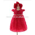 Vestido de Noche de Puffy con Rhinestone Pearl Infant Lace Flower Vestido de rodilla de 3M 6M 12M Baby Girl Dress en color rojo para fiesta