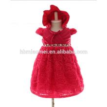 Soirée Puffy Dress avec Rhinestone perle infantile dentelle fleur genou robe 3M 6M 12M bébé fille robe en couleur rouge pour la fête