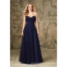 Robes de demoiselle d'honneur en tulle bleu marine