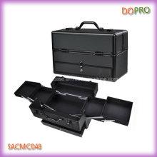 Весь черный алюминий Pro Жесткий футляр для макияжа дерева с ящиком (SACMC048)