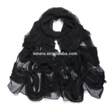 Inner Mongolia manufacturers spot silk ladies scarf SSR0001 fine thin soft silk handmade fold scarf